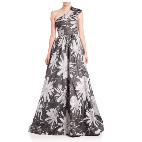 David Meister Dresses | Jacquard Floral One Shoulder Gown | Poshmark
